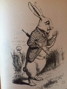illustration of the white rabbit from Alice in Wonderland