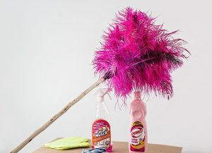 copywriting cost spring cleaning package shown as a feather duster