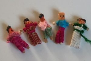 Photo of five tiny worry dolls to be used to help children deal with SATs stress