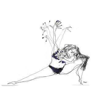 Illustration of a woman dancing in her black underwear by Rubyetc.