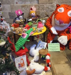 Scene including characters from the book The Tiger Who Came to Tea.