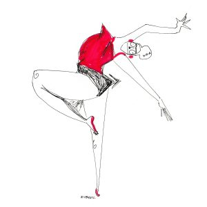 Drawing of a woman dancing, wearing a red top and shoes by Rubyetc.